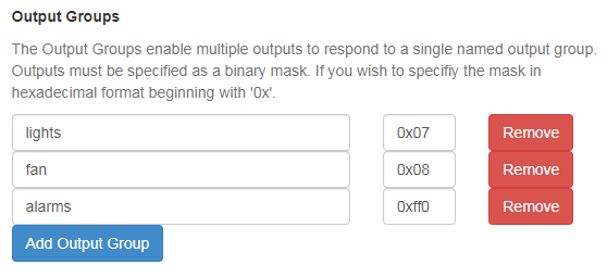 Output groups for MQTT application