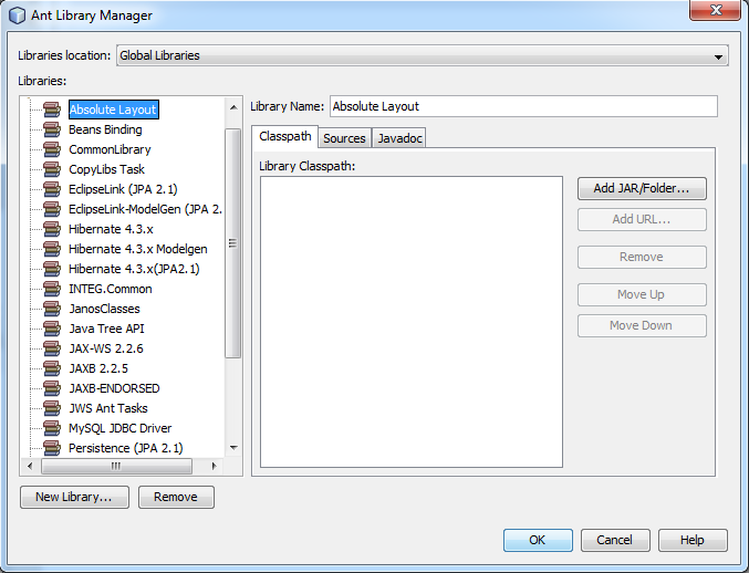 Library option for JNIOR in netbeans