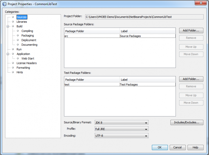 Project Properties for JNIOR Netbeans Project