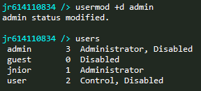 JNIOR disable admin