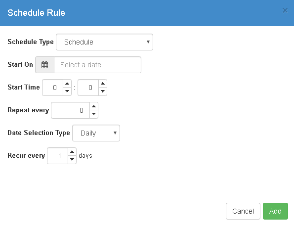 Schedule Rule dialog box
