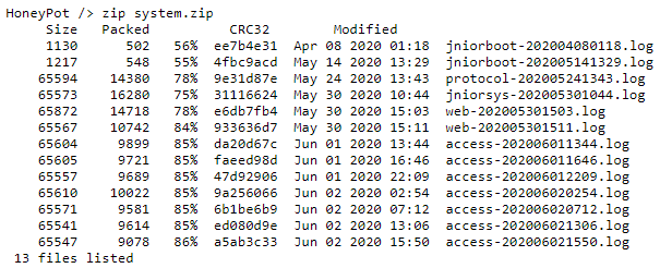 system.zip example for Log Archiver application