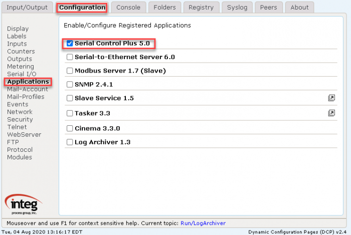 Configuration tab for the JNIOR Web Page