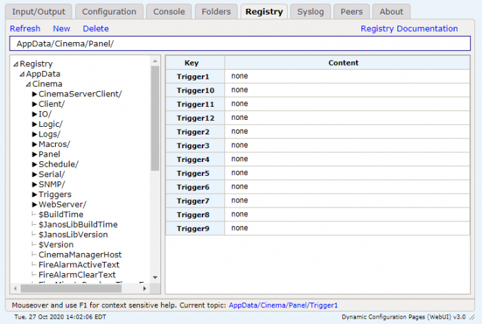 Control Panel registry for JNIOR Web Page