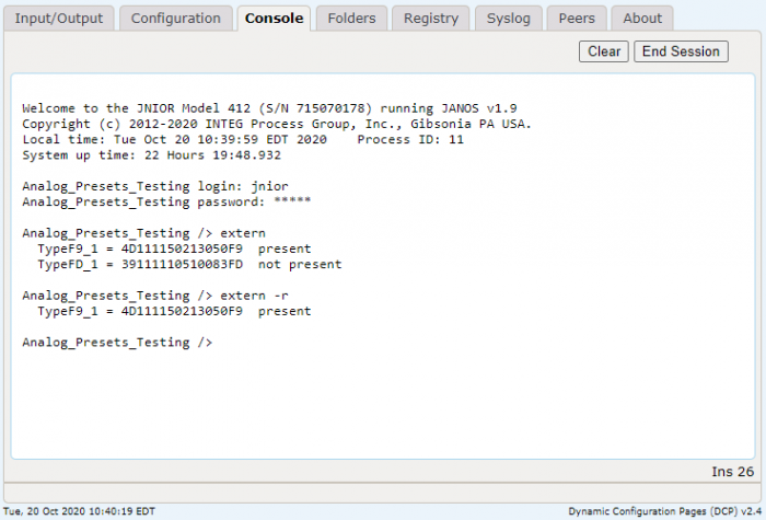Extern command for JNIOR  Automation Controller