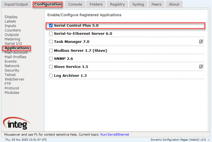 Configuration tab for JNIOR Web Page