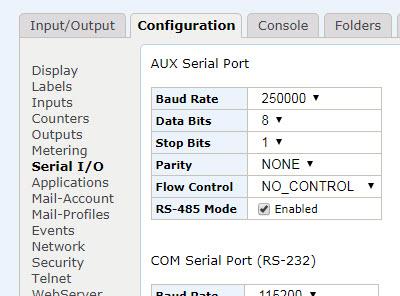 JNIOR Aux port settings