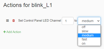 Set Control Panel LED Tasker example